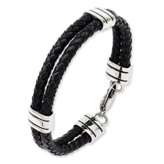 Versil Black Leather Stainless Steel 9-inch Bracelet|https://ak1.ostkcdn.com/images/products/12032131/P18904794.jpg?impolicy=medium
