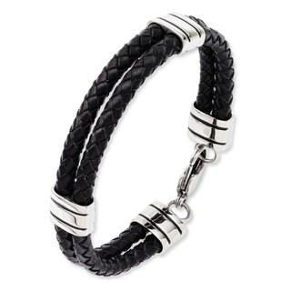 Versil Black Leather Stainless Steel 9-inch Bracelet