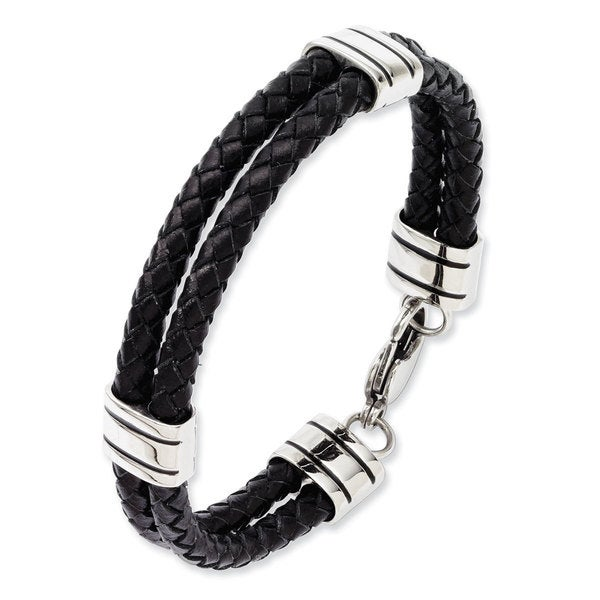 Chisel Black Leather Stainless Steel 9-inch Bracelet