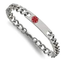 Versil Stainless Steel Red Enamel 9.5-inch Medical Bracelet