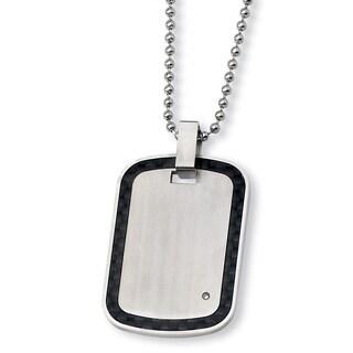 Versil Chisel Men's Stainless Steel Black Carbon Fiber 01-carat Diamond 24-inch Necklace