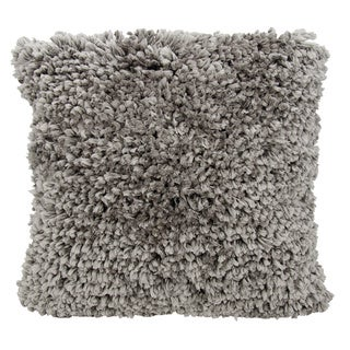 Mina Victory Shag Finger Yarn Grey Throw Pillow by Nourison (20 x 20-inch)