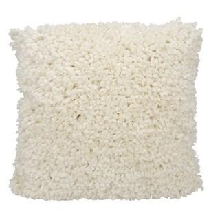 Mina Victory Shag Finger Yarn Cream Throw Pillow by Nourison (20 x 20-inch)