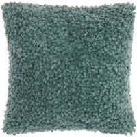 Mina Victory Shag Finger Yarn Celadon Throw Pillow by Nourison (20-Inch X 20-Inch)