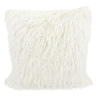 Mina Victory Shag Yarn Shimmer White Throw Pillow by Nourison (20 x 20-inch)