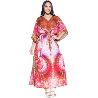 La Leela Red Digital Blossom Likre Beachwear Long Evening Dress Kaftan Maxi Red