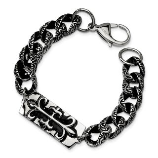 Versil Stainless Steel Antiqued Gothic 9-inch Bracelet