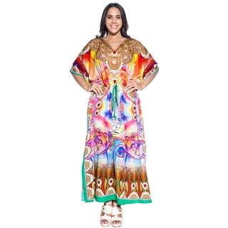 La Leela Soft Likre Digital Artistic Kimono Long Summer Dress Kaftan Maxi Yellow
