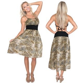 La Leela Likre One Size Pebbles Leafy Halter Casual Short Tube Dress Women Brown