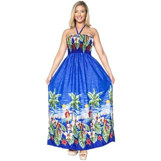 La Leela SOFT Likre Halter Cover up Beachwear Maxi Long Tube Dress Royal Blue