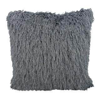 Mina Victory Shag Yarn Shimmer Grey Throw Pillow by Nourison (20 x 20-inch)