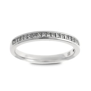 Azaro Jewelry 14k White Gold 1/4ct TDW Princess-cut Diamond Halfway Wedding Band (G-H, SI1-SI2)