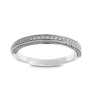 Azaro Jewelry 14k White Gold 1/3ct TDW Round Diamond 3-row Halfway Wedding Band (G-H, SI1-SI2)