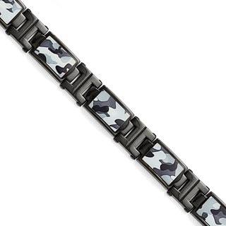 Versil Stainless Steel Black IP-plated Camoflage Bracelet
