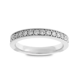 Azaro 14k White Gold 2/5ct TDW Round Diamond Halfway Wedding Band (G-H, SI1-SI2)