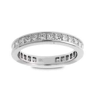 Azaro Jewelry 14k White Gold 1 1/2ct TDW Princess-cut Diamond Eternity Wedding Band (G-H, SI1-SI2)