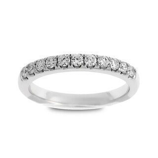 Azaro 14k White Gold 1/3ct TDW Round Diamond Wedding Band