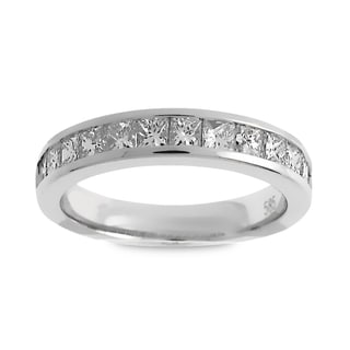 Azaro Jewelry 14k White Gold 1ct TDW Princess-cut Diamond Halfway Wedding Band