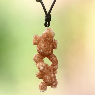 Handcrafted Cow Bone Leather 'Happy Toads' Necklace (Indonesia)