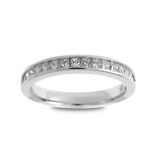 Azaro Jewelry 14k White Gold 1/2ct TDW Princess-cut Diamond Halfway Wedding Band (G-H, SI1-SI2)
