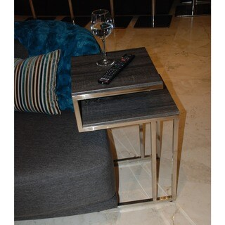 Knox Metal and Wood Two-tier Accent Table