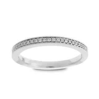Azaro Jewelry 14k White Gold 1/8ct TDW Round Diamond Halfway Wedding Band (G-H, SI1-SI2)