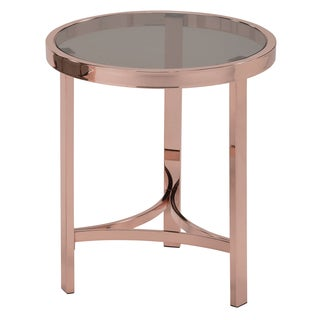 Strata Rose Gold Metal and Smoked Glass Round Accent Table