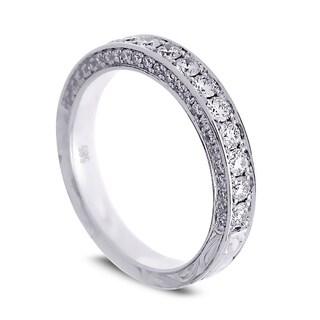Azaro Jewelry 14k White Gold 3/4ct TDW Round Diamond 3-row Halfway Wedding Band (G-H, SI1-SI2)