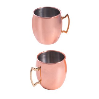 Copper Stainless Steel Tankards (Set of 2)