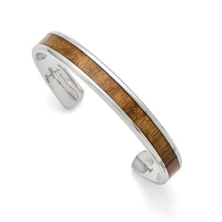 Versil Chisel Men's Stainless Steel Polished 8-inch Wood Inlay Enameled Bangle