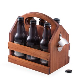 Solid Wood Beer Caddy With Bottle Opener