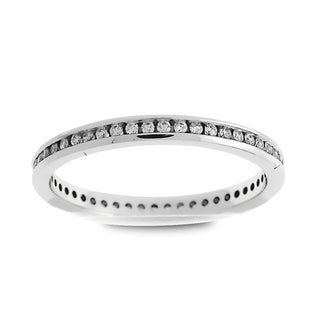 Azaro Jewelry 14k White Gold 1/4ct TDW Round Diamond Eternity Wedding Band