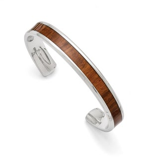 Versil Stainless Steel/Wood Inlay Polished Enameled 8-inch Bangle