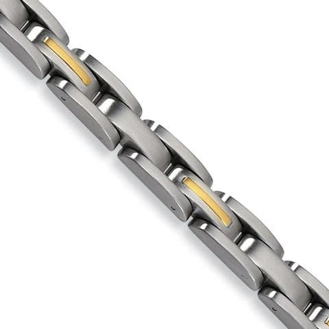 Chisel Stainless Steel 14K Yellow Gold Inlay 8 Inch Bracelet