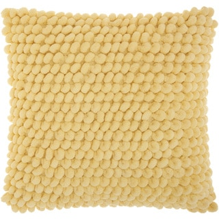 Mina Victory Shag Loop Pom Pom Yellow Throw Pillow by Nourison (17 x 17-inch)