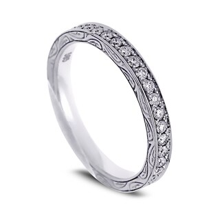 Azaro 14k White Gold 1/2ct TDW Round Diamond Eternity Wedding Band