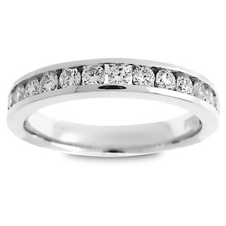 Azaro Platinum 1/2ct TDW Round Diamond Halfway Wedding Band (G-H, SI1-SI2)