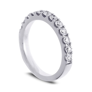 Azaro Jewelry 14k White Gold 3/4ct TDW Round Diamond Halfway Wedding Band (G-H, SI1-SI2)