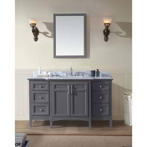 Ari Luz Grey Marble, Wood 60-inch x 34.5-inch x 22-inch Single Bathroom Vanity Set