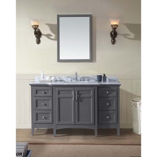 Ari Luz Grey Marble, Wood 60-inch x 34.5-inch x 22-inch Single Bathroom Vanity Set