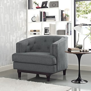 Link to Modway Coast Mid-Century Grey or Off-White Upholstered Armchair with Walnut Rubberwood Legs Similar Items in Living Room Chairs