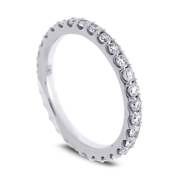 Azaro Jewelry 14k White Gold 1ct TDW Round Diamond Eternity Wedding Band