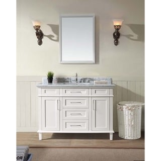 Ari Kitchen and Bath Newport White Finish Marble and Wood 48-inch Single Bathroom Vanity Set