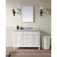Ari Kitchen and Bath Newport White Finish Marble and Wood 48-inch Single Bathroom Vanity Set