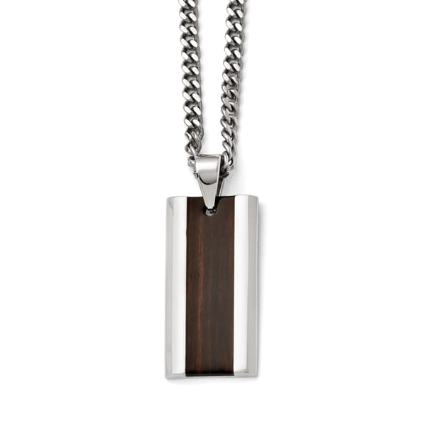 Chisel Polished Stainless Steel Black Wood Inlay Enameled Necklace