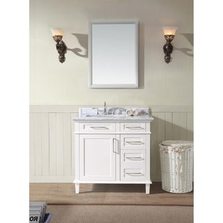 Ari Kitchen and Bath Newport White Wood and Marble 36-inch Single Bathroom Vanity Set