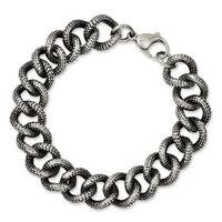 Versil Stainless Steel Antiqued and Textured Links 8.5-inch Bracelet