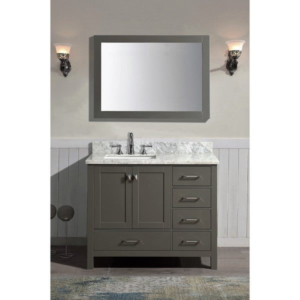 Bella Grey 42 Inch X 34 5 Inch X 22 Inch Single Bathroom Vanity Set With Mirror Free Shipping