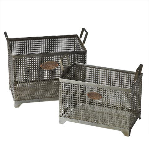 Handmade Butler Rowley Iron Storage Baskets (Set of 2) (India)