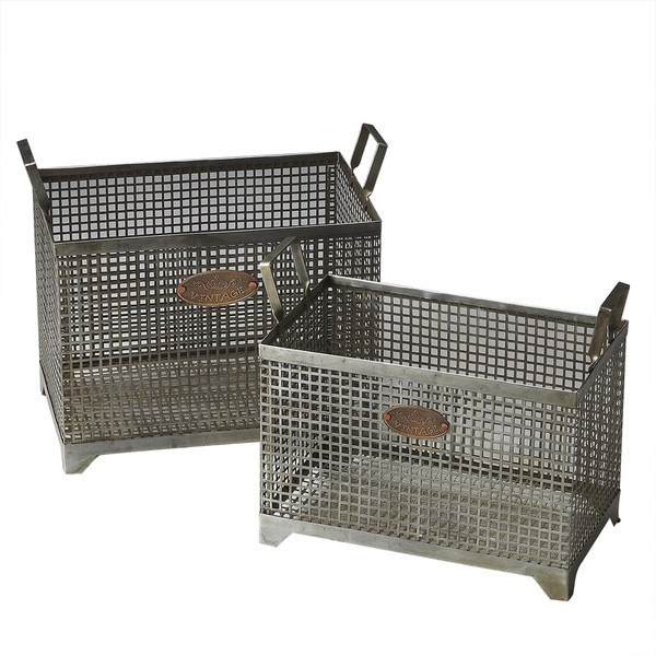 Butler Transitional Rectangular Iron Storage Basket Set   Gray